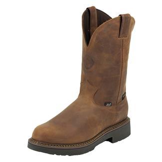 "Justin Original Work Boots 11"" Balusters Bay Round Toe WP Rugged Aged Bark Gaucho"