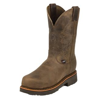 "Justin Original Work Boots 11"" Blueprint Round Toe CT Tan Crazy Horse"