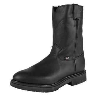 """Justin Original Work Boots 10"""" Conductor Round Toe Black Pitstop"""