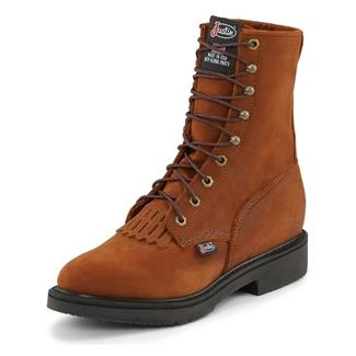 """Justin Original Work Boots 8"""" Conductor Round Toe Aged Bark"""