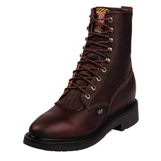 """Justin Original Work Boots 8"""" Conductor Round Toe Briar Pitstop"""