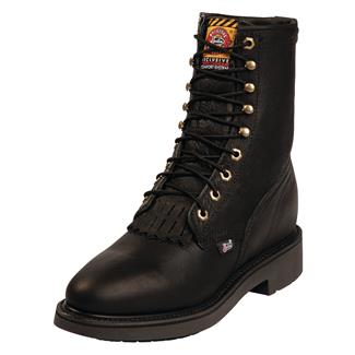 """Justin Original Work Boots 8"""" Conductor Round Toe Black Pitstop"""