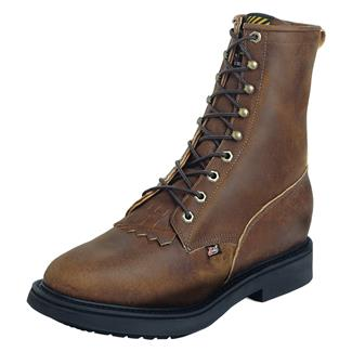 """Justin Original Work Boots 8"""" Conductor Round Toe ST Aged Bark"""