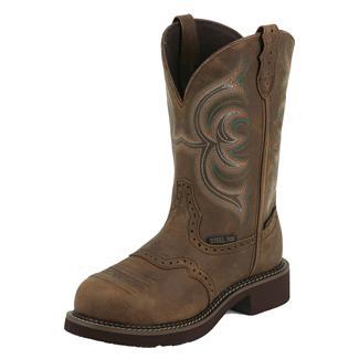 "Justin Original Work Boots 11"" Wanette ST WP Aged Bark"