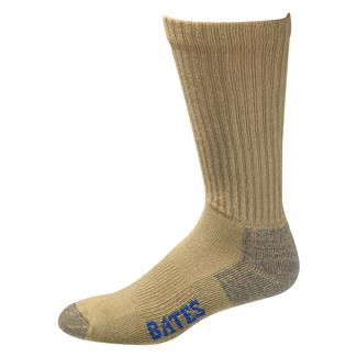 Bates Cotton Comfort Crew Socks - 3 Pair Army Brown