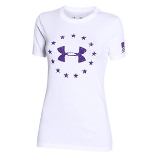Under Armour HeatGear Freedom T-Shirt White / Deep Orchid