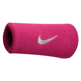NIKE Swoosh Doublewide Wristband (2 pack) Vivid Pink / White