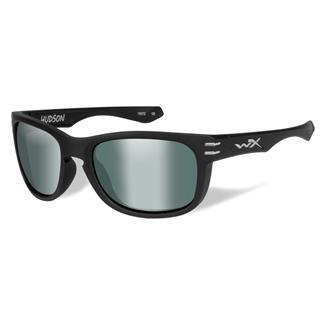 Wiley X Hudson Matte Black (frame) - Polarized Platinum Flash (Green) (lens)