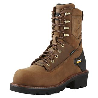 """Ariat 8"""" Powerline H2O CT WP Oily Distressed Brown"""