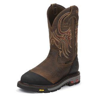 "Justin Original Work Boots 11"" Borehole Round Toe Met Guard ST WP Tumbled Mahogany"