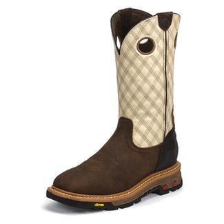 "Justin Original Work Boots 11"" Roughneck Square Toe Tan Cedar / Two Tone Bone"