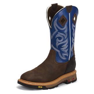"Justin Original Work Boots 11"" Roughneck Square Toe Waxy Tan / Colbalt Blue"