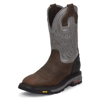 "Justin Original Work Boots 11"" Tanker Square Toe ST Timber / Gunmetal Gray"