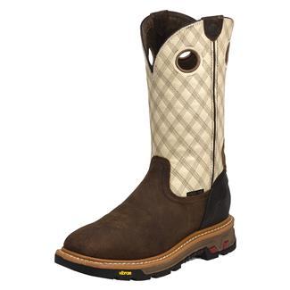 "Justin Original Work Boots 11"" Roughneck Square Toe ST Tan Cedar / Two Tone Bone"