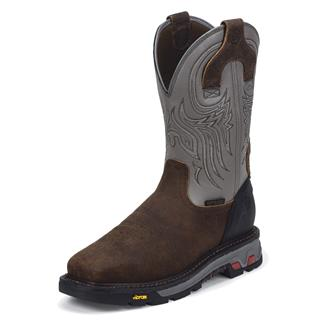 """Justin Original Work Boots 11"""" Tanker Square Toe Met Guard ST WP Timber / Gunmetal Gray"""
