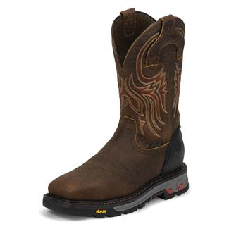 "Justin Original Work Boots 11"" Driscoll Square Toe Met Guard ST WP Tumbled Mahogany"