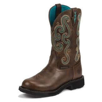 "Justin Original Work Boots 11"" Tasha ST WP Chocolate Chip / Soft Topaz"