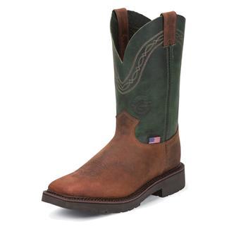 """Justin Original Work Boots 11"""" Pipefitter Square Toe ST Cognac Zulu / Evergreen Crazyhorse"""