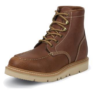 "Justin Original Work Boots 6"" JacknifeMoc Toe Wedge Tan Action"