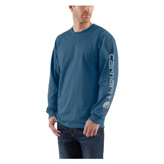 Carhartt Long Sleeve Logo T-Shirt Stream Blue