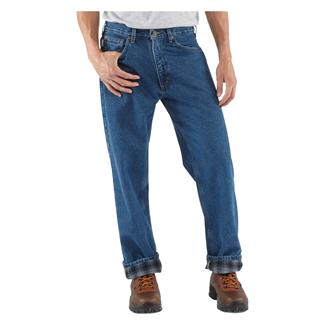 Carhartt Relaxed Fit Flannel Lined Straight Leg Jeans Darkstone