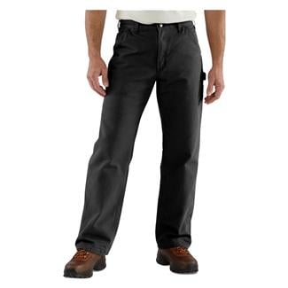 Carhartt Washed Duck Flannel Lined Work Dungaree Pants Black