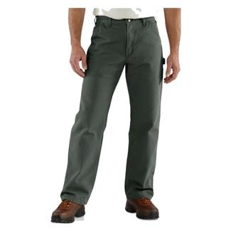 Carhartt Washed Duck Flannel Lined Work Dungaree Pants Moss