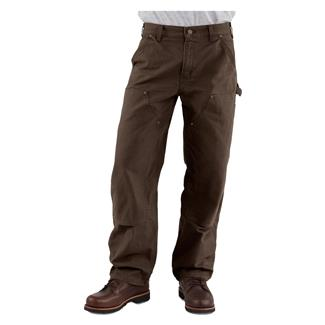 Carhartt Washed Duck Double Front Dungaree Pants Dark Brown