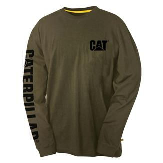 CAT Long Sleeve Trademark Banner T-Shirt Army Moss