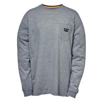 CAT Long Sleeve Trademark Pocket T-Shirt Dark Heather Gray