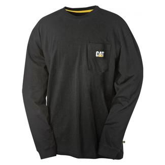 CAT Long Sleeve Trademark Pocket T-Shirt Black