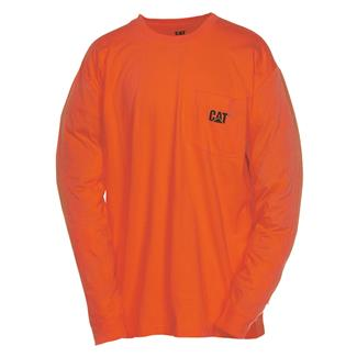 CAT Long Sleeve Trademark Pocket T-Shirt Adobe Orange