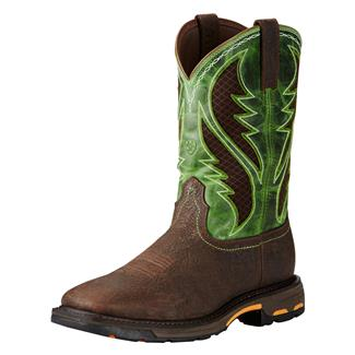 "Ariat 11"" Workhog Wide Square Toe VentTek CT Bruin Brown / Grass Green"
