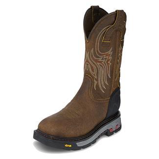 "Justin Original Work Boots 11"" Driscoll Square Toe WP Tumbled Mahogany"