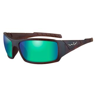 Wiley X Twisted Matte Hickory Brown (frame) - Polorized Emerald Green Mirror (lens)