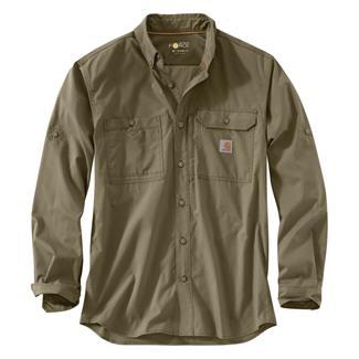 Carhartt Force Ridgefield Solid Long Sleeve Shirt Burnt Olive