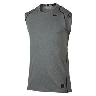 NIKE Pro Cool Fitted Sleeveless Shirt Carbon Heather / Black / Black