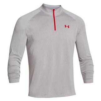 Under Armour Tech 1/4 Zip True Gray Heather / Red / Red
