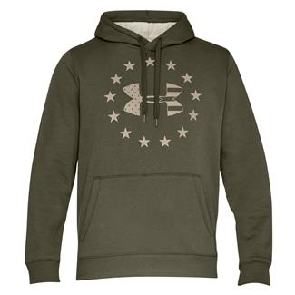 Under Armour Freedom Rival Fleece Hoodie Marine OD Green / Desert Sand