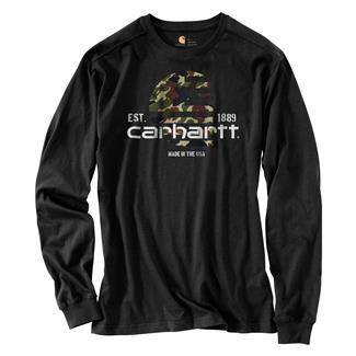 Carhartt Lubbock Filled Flag Long-Sleeve T-Shirt Black