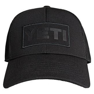 YETI Black on Black Patch Trucker Hat Black