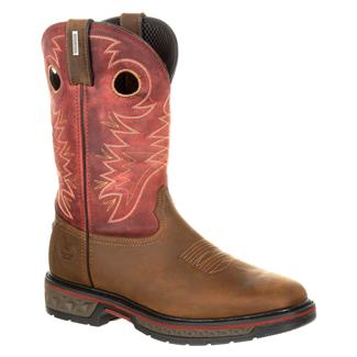 """Georgia 11"""" Carbo-Tec Square Toe Pull-On WP Brown / Red"""