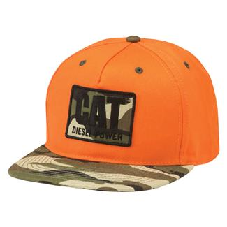 CAT Diesel Power Flat Bill Hat Hunters Orange