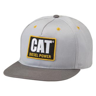 CAT Diesel Power Flat Bill Hat Light Gray