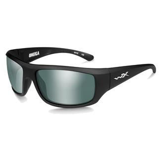 Wiley X Omega Matte Black (frame) - Polarized Green Plat Flash (lens)
