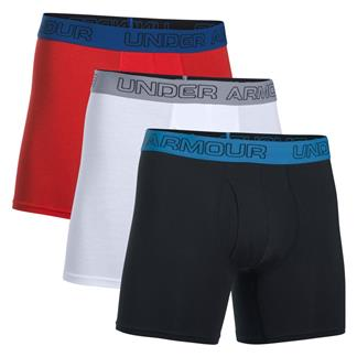 """Under Armour Charged Cotton Stretch 6"""" Boxerjock (3 Pack) Black / White / Red"""