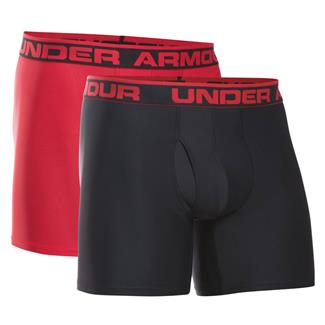 "Under Armour Original Series 6"" Boxerjock Boxers (2 Pack) Black / Red"