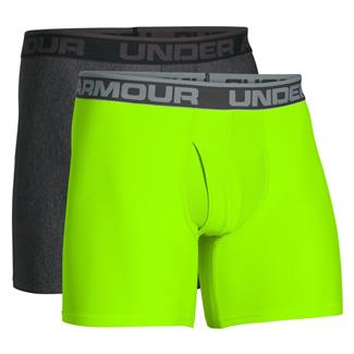 "Under Armour Original Series 6"" Boxerjock Boxers (2 Pack) Carbon Heather / Hyper Green"