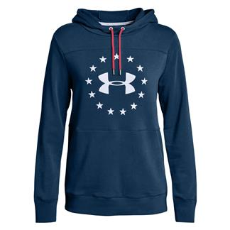 Under Armour Freedom Threadborne Hoodie Blackout Navy / Rustic Red / White