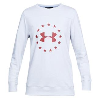 Under Armour Freedom Threadborne Crew Long Sleeve T-Shirt White / Ghost Gray / Rustic Red